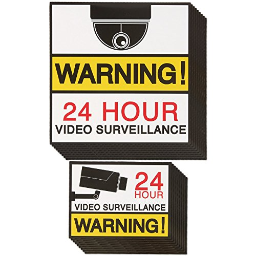 Juvale Video Surveillance Signs - 20-Pack Camera Signs, 24 Hour Warning Signs, Security Stickers for Home, Business Use, 2 Different Sizes