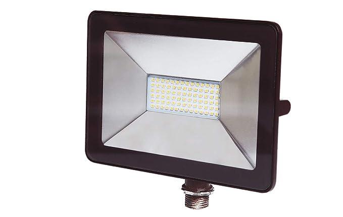 ASD 50W LED Flood Light with Arm Mount 3000K (Warm Light), Slim SMD 5221lm Waterproof Outdoor Landscape, Bronze, ETL Listed & DLC Certified
