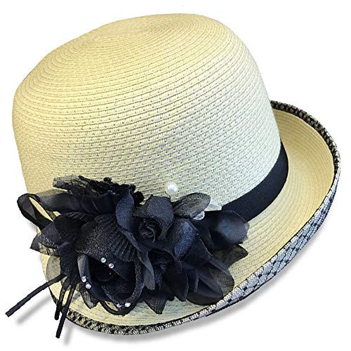 Melniko City Women Cloche Straw Hat Derby Gatsby 20s (Light -