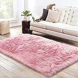 LOCHAS Soft Faux Sheepskin Fluffy Rugs for Bedroom Kids Room, High Pile Faux Fur Area Rug Bedside Floor Carpet Photography, 3x5 Feet Rectangular Pink
