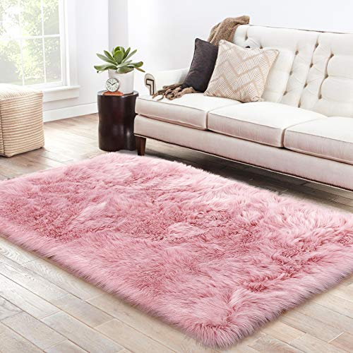 LOCHAS Soft Faux Sheepskin Fluffy Rugs for Bedroom Kids Room, High Pile Faux Fur Area Rug Bedside Floor Carpet Photography, 3x5 Feet Rectangular Pink (Hot Pink Carpet Shag)