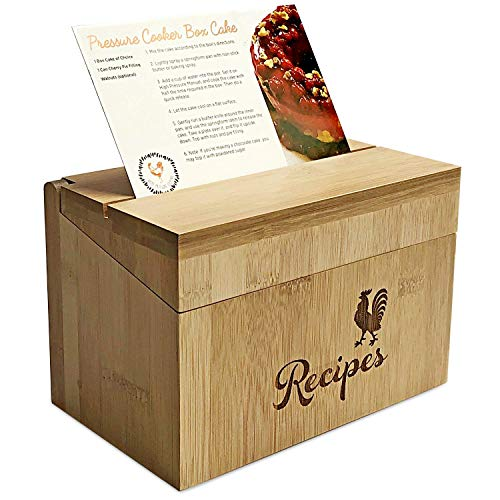 Pot Recipe Card - Wood Recipe Box with 40 Index Cards - Bamboo Wooden Construction - Includes 10 Printed Instant Pot Recipe Cards