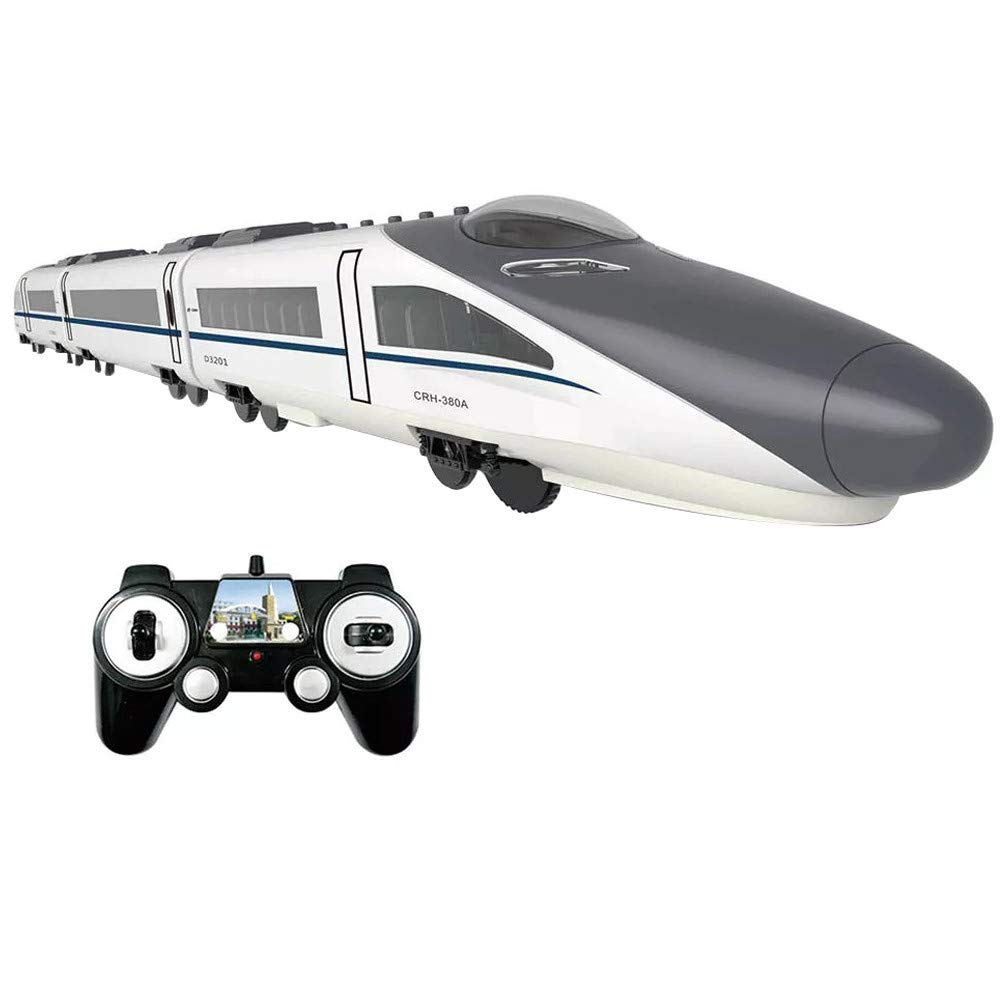 High Speed Train Toys - 2.4G Double Direction E636-003 High-Speed Harmonious Rail Remote Control Electric Train Set RC Train Model RC Car with Beautiful 3D Lights and Sounds (White, Hobbies)