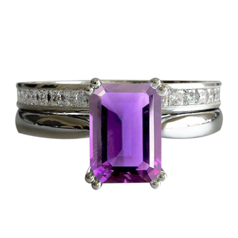 9c9867888b75 Lilu Jewels - Juego de anillos de compromiso de plata de ley para novia