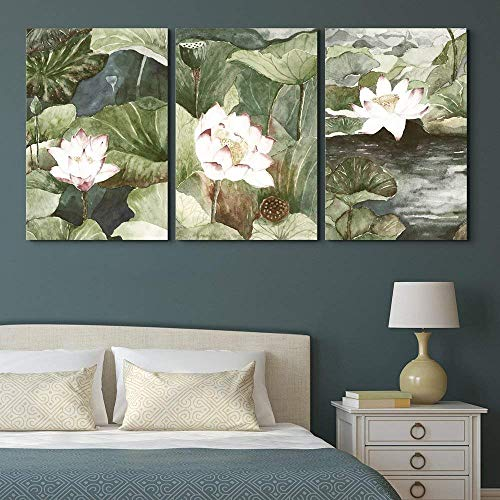 wall26 - 3 Panel Canvas Wall Art - Watercolor Style Lotus Flowers and Leaves - Giclee Print Gallery Wrap Modern Home Decor Ready to Hang - 16