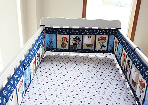 NAUGHTYBOSS Baby Bedding Set Cotton 3D Embroidery Pirates Of the Caribbean Quilt Bumper Bedskirt Fitted 7 Pieces Blue by NAUGHTYBOSS (Image #4)