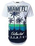 URBANTOPS Mens Hipster Hip Hop Miami Florida Tropical Longline T-Shirt White, S