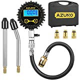 AZUNO Cylinder Compression Tester Kit, 200 PSI Digital Compression Gauge with Adapter & Hose, 8 Pieces Professional Compression Test Tool for Gasline Engine and Small Engine