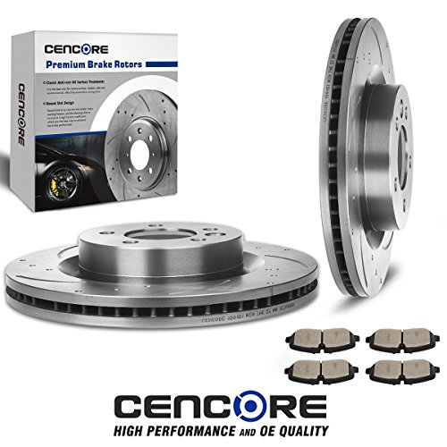 (Front) 2pcs Drilled Slotted Brake Rotors & 4pcs Brake Ceramic Pads - Combo Brake Kit for Land Rover LR3 2005-2009 (V8 Models ONLY)/Land Rover Range Rover Sport, Fits 2006 Land Rover by CENCORE