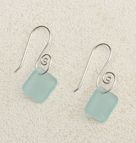 (Sea Glass French Curve Earrings, with Ocean Glass)