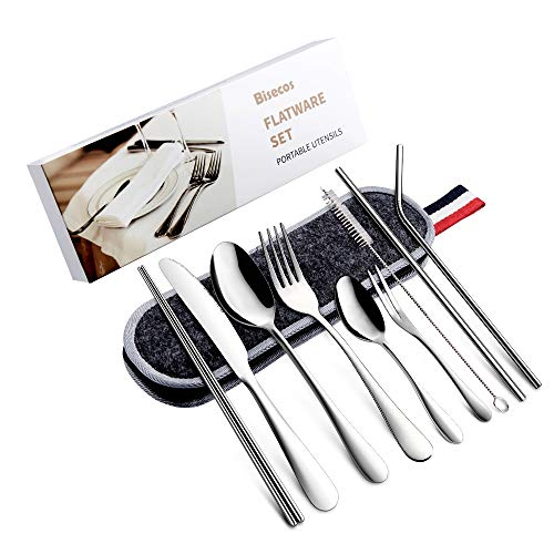 Portable Utensils, Travel Cutlery, 9-Piece Including Knife Fork Spoon Portable Chopsticks Cleaning Brush Reusable Straws Portable Bag, Stainless Steel Flatware Set Cleaning Stainless Steel Flatware