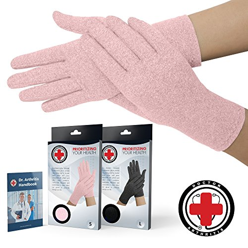 Doctor Developed Full Fingered Arthritis Compression Gloves (Pink) and Doctor Written Handbook - Soft with Mild Compression, for Arthritis, Raynauds Disease & Carpal Tunnel (Large) ()
