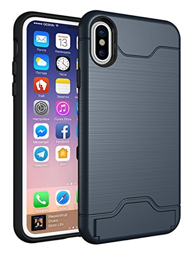 (iPhone X Case, KAMII [Card Slot Holder] Shockproof Slim Fit Dual Layer Hybrid Wallet Case Protective Hard Cover Skin Card Holder with Kickstand for Apple iPhone X (Navy))