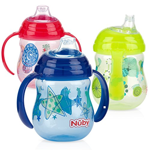 Nuby 3 Piece Grip N' Sip Cup, Blue/Yellow/Red