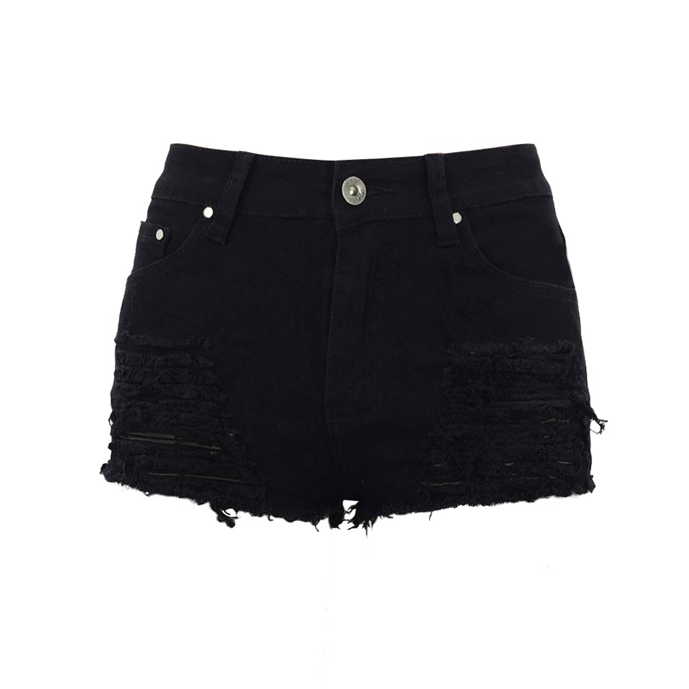 Sentao Donna Vintage Vita Alta Jeans Shorts Pantaloncini Corti Strappati Denim Shorts