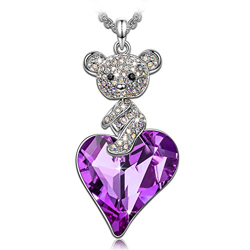 KATE LYNN Sweetheart Teddy Bear ♥Gifts for Girls♥ Women Jewelry with Violet Heart Swarovski Crystals Animal Pendant Necklace Sweater Chain 27.6+2