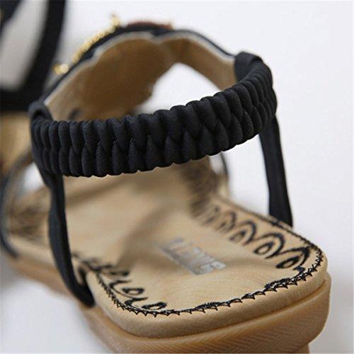 Style en Noir Mode Compensé Bohème Décontractés Nu de Femme Casuel Fanessy d'été Plage Pieds Talons Plats Sandales pour Rétro Zw6WU