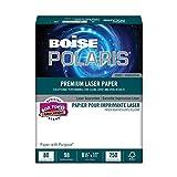BOISE POLARIS PREMIUM LASER PAPER COVER, 8 1/2'' x 11'', Letter, 98 Bright White, 80 lb., 1500 Sheets/Carton, 40 Cartons/Pallet