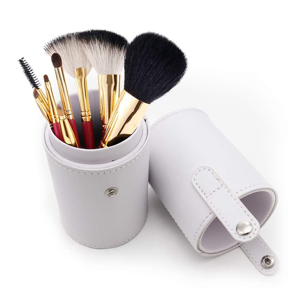 Makeup Brush Case Holder Empty PU Leather Portable Cosmetic Storage Box Organiser (White)