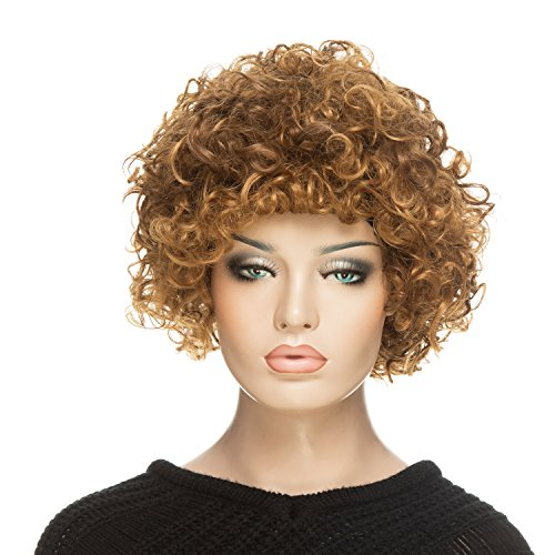 [YOPO Short Curly Afro Wig for Women with Wig Cap and Bobby Pins, Brown] (Full Bobby Light Costume)