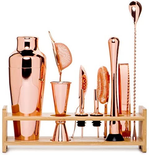 Jillmo Pro Martini Bartender Kit Copper Coated Rose Gold Stainless Steel Bar Set with Bamboo Stand – 19 oz Parisian Gold Cocktail Shaker with Bar Accessories