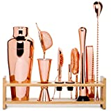 Jillmo Pro Martini Bartender Kit Copper Coated Rose Gold Stainless Steel Bar Set with Bamboo Stand - 19 oz Parisian Gold Cocktail Shaker with Bar Accessories