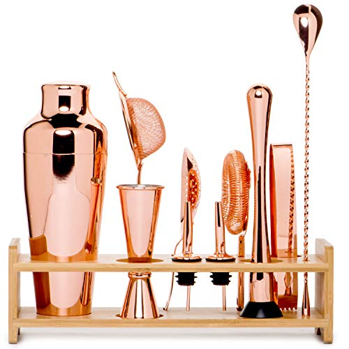 (Jillmo Pro Martini Bartender Kit Copper Coated Rose Gold Stainless Steel Bar Set with Bamboo Stand - 19 oz Parisian Gold Cocktail Shaker with Bar Accessories)