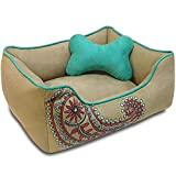 Blueberry Pet Heavy Duty Microsuede Overstuffed Bolster Lounge Dog Bed, Removable & Washable Cover w/YKK Zippers, 25″ x 21″ x 10″, 6 Lbs, Champagne Beige Embroidered Paisley Beds for Cats & Dogs For Sale