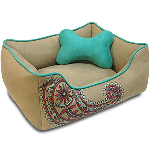 Blueberry Pet Heavy Duty Microsuede Overstuffed Bolster Lounge Dog Bed, Removable & Washable Cover w/YKK Zippers, 25