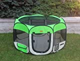 New Small Green Pet Dog Cat Tent Playpen Exercise Play Pen Soft Crate