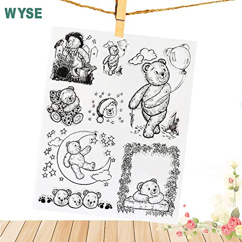 Rubber Clear Stamps Stamp Transparent 1418cm Transparent Stamp Bear Clear Stamps Rubber Stamp Craft Stamp Scrapbooking for Photo Album Card ()