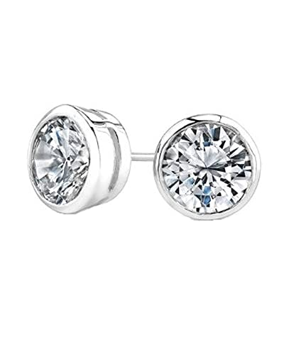 earrings diamond halo set bezel stud with