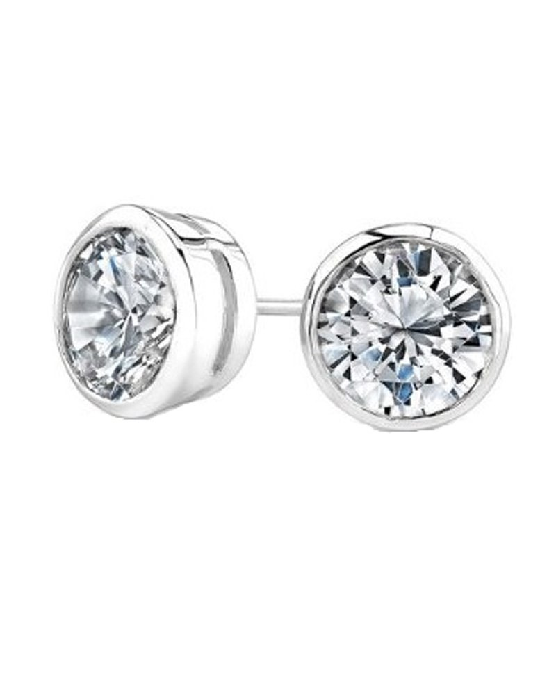 Round Cut CZ Bezel Sterling Silver Basket Set Stud Earrings 9mm