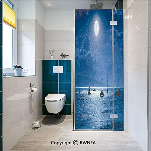 RWNFA Non-Adhesive Privacy Window Film Dramatic Photo of A Nighttime Sky Full Moon Over A Calm Ocean Scene in Maui Hawaii Door Sticker Glass Film 17.7 in. by 47.2in. (45cm by 120cm),Navy White