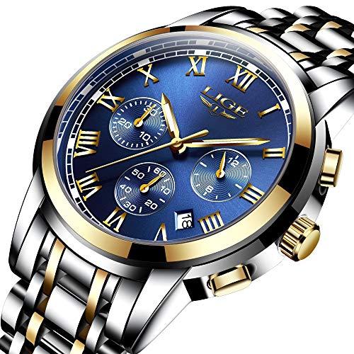 Watches Men Luxury Brand Chronograph Men Sports Watches Waterproof Full Steel Quartz Men's Watch (B)