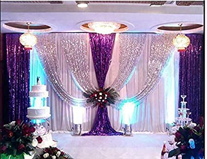 Lb Wedding Stage Backdrop Curtains With Swags Sparkly Sequin Silk Backdrop Purple Drape Party Decorations Backdrop For Wedding Birthday Party