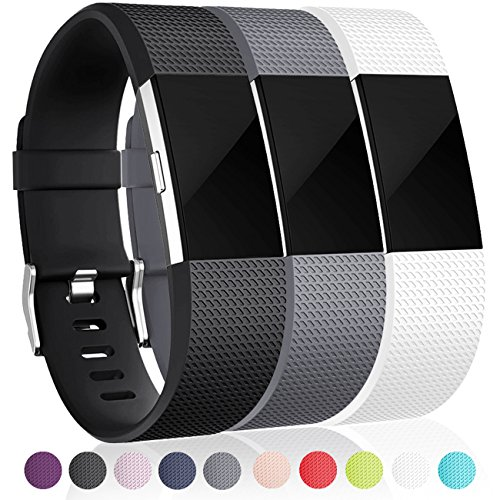 Bands for Fitbit Charge 2 (3 Pack), Black, White and Grey, Large