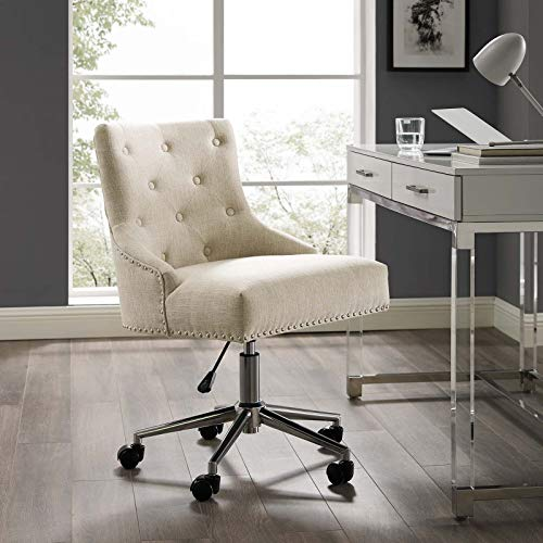 Modway EEI-3609-BEI Regent Tufted Button Swivel Upholstered Fabric Office Chair, Beige