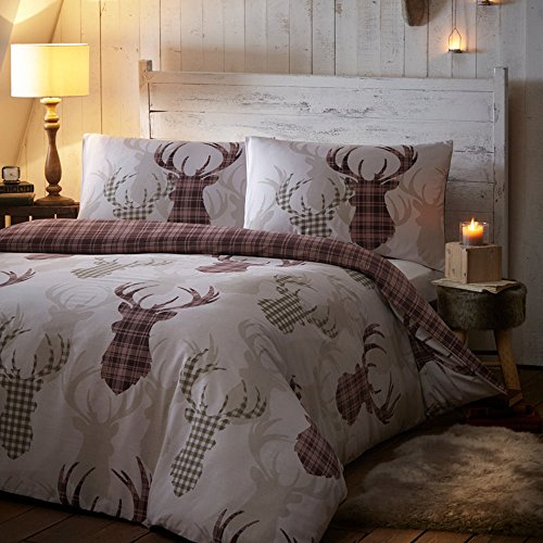 Tartan Check Stag Deer Animal Quilt Duvet Cover Bedding Set & Pillowcase UK Double (Deer Bed Set)