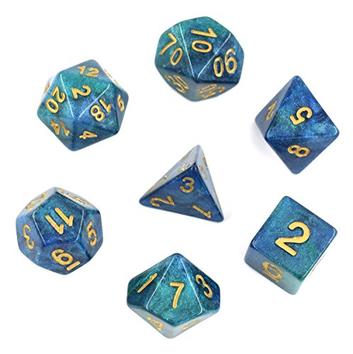 Polyhedral DND Dice Sets 7-Die for for Dungeons and Dragons TableTop Games Dice Peacock Ceathers)