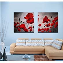 Espritte Art-Huge Canvas Print Wall Art Red Poppy Flowers Pictures Modern Home Decoration Painting set of 2 Each is 50*50cm (No Framed) #cy-743