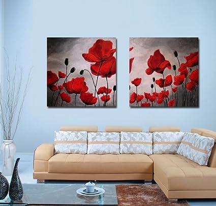 Amazon.com: Espritte Art-Huge Canvas Print Wall Art Red Poppy ...