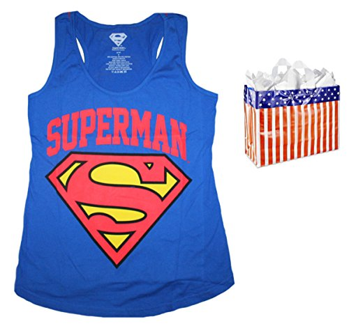 Superman+tank+tops Products : Superman Womens' Juniors Logo All Over Racerback Tank & Bag - 2 Piece Gift Set