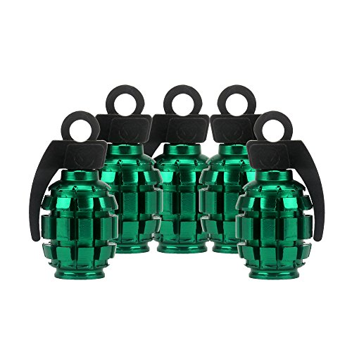Senzeal 5x Aluminum Grenade Bomb Style Universal Car Truck Motocycle Wheel Tire Valve Stem Caps Bicycle Air Valve Cover Green