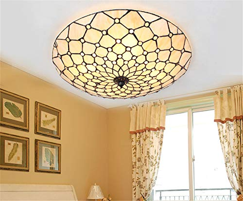 Tiffany Stained Glass Flush Mount Ceiling Light Fixture Handmade Vintage Lamp Chandelier Lighting E27 Bulbs (Lattice)
