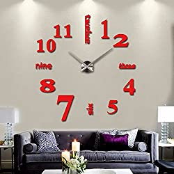 eshion 3D DIY frameless Real Modern Large Wall Clock Fashion Quartz Watch Home Decoration for Living Room Bedroom,Red