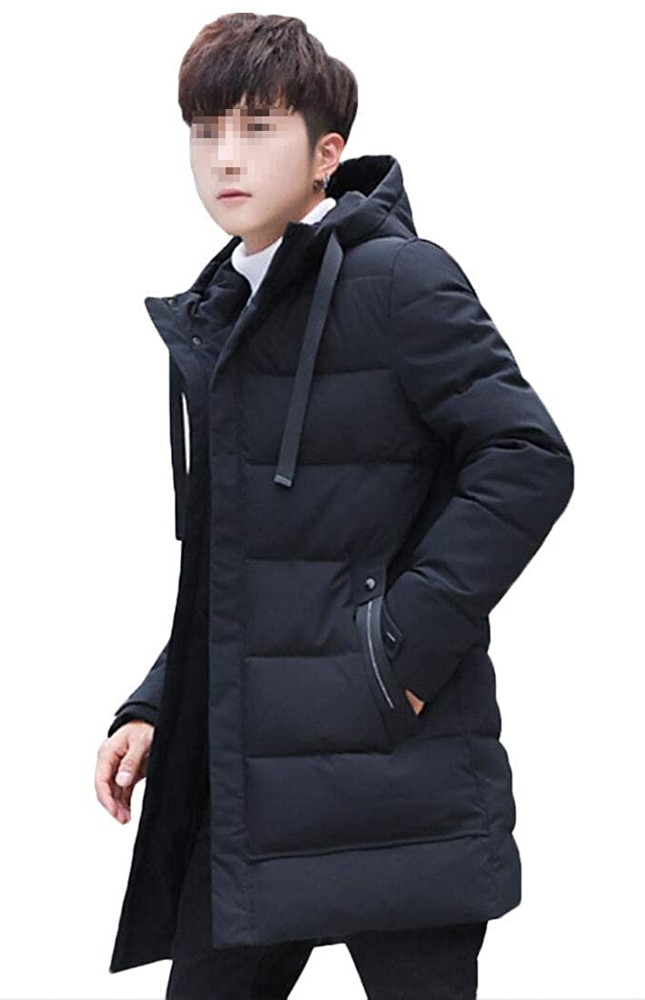 Gocgt Mens Winter Puffer Coats Fur Hooded Thick Padded Quilted Down Jacket