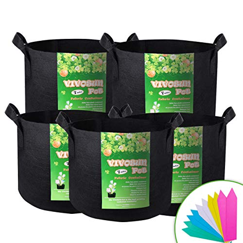 VIVOSUN 5-Pack 7 Gallon Plant Grow Bags, Premium Series Thichkened Non-Woven Aeration Fabric Pots w/Handles - Reinforced Weight Capacity & Extremely Durable (Black) ()