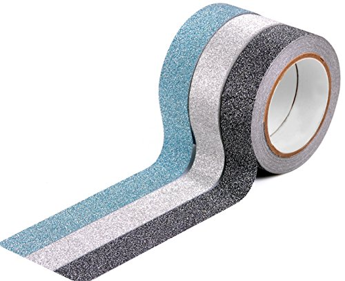 HIART HG1011 HiArt Craft Decorative Glitter Masking Paper Tape, 15mm, Set of - 15 Solid Mm Tapes