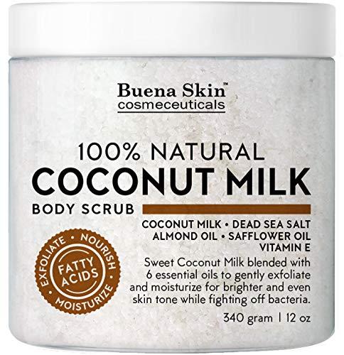 Coconut Milk Body Scrub with 6 Essential Oils   Natural Deep Cleansing Exfoliator   Promoting Radiant Skin 12 oz By Buena Skin (Coconut Milk)